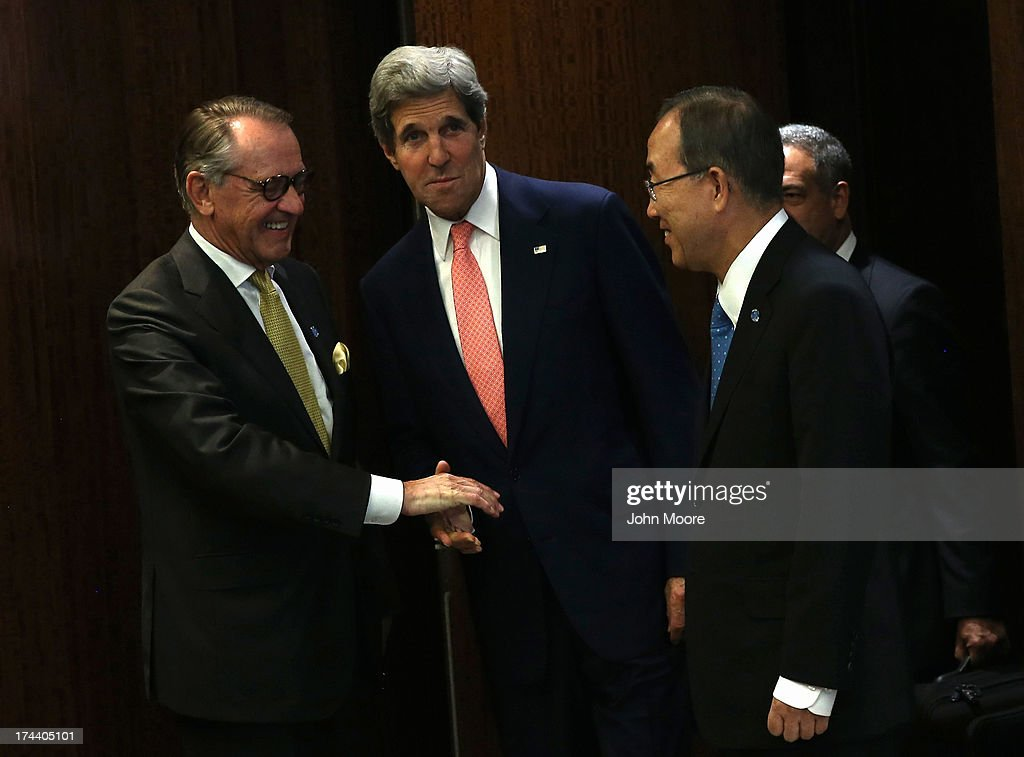 U.S. Secretary of State <a gi-track='captionPersonalityLinkClicked' href=/galleries/search?phrase=John+Kerry&family=editorial&specificpeople=154885 ng-click='$event.stopPropagation()'>John Kerry</a> (C), arrives to meet with UN Secretary General Ban Ki-moon (R), ahead of a meeting of the UN Security Council on July 25, 2013 in New York City. At the meeting Kerry expressed American support for the the Secretary General's Peace, Security and Cooperation Framework for the Democratic Republic of the Congo and the region.