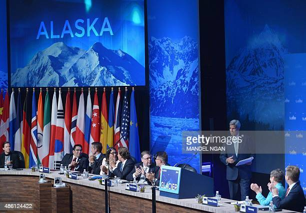 US Secretary of State John Kerry arrives to speak at the Global Leadership in the Arctic Cooperation Innovation Engagement and Resilience Conference...