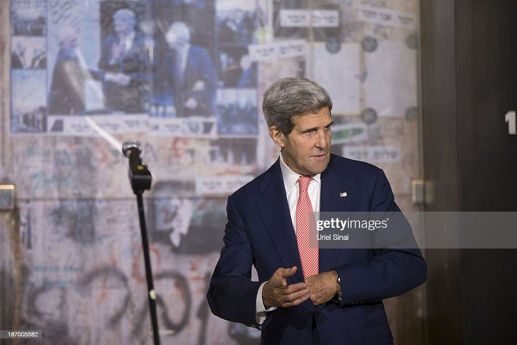 U.S. Secretary of State John Kerry attends a memorial service at the site Israel's former Prime Minister Yitzhak Rabin's assassination on November 05, 2013 in Tel Aviv, Israel. Kerry is in the region to meet with both the Isaeli and Palestinian leaders.