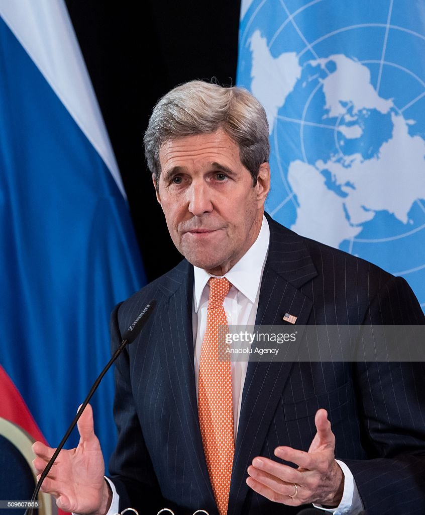 US Secretary of State John Kerry attends a news conference after the International Syria Support Group (ISSG) meeting in Munich, Germany, on February 12, 2016.