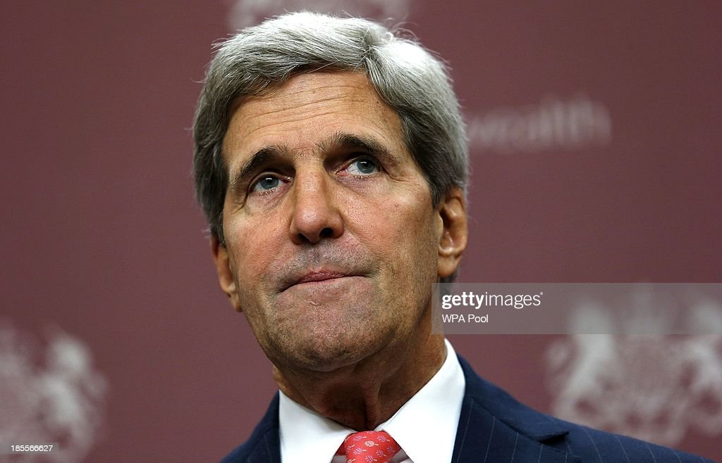 US Secretary of State <a gi-track='captionPersonalityLinkClicked' href=/galleries/search?phrase=John+Kerry&family=editorial&specificpeople=154885 ng-click='$event.stopPropagation()'>John Kerry</a> attends a news conference at the Foreign and Commonwealth Office on October 22, 2013 in London, England. <a gi-track='captionPersonalityLinkClicked' href=/galleries/search?phrase=John+Kerry&family=editorial&specificpeople=154885 ng-click='$event.stopPropagation()'>John Kerry</a> attended a meeting today, hosted by British Foreign Secretary William Hague which brought together Foreign Ministers from the USA, Egypt, France, Germany, Italy, Jordan, Qatar, Saudi Arabia, Turkey and UAE as well as representatives from the Syrian National Coalition. Plans for talks to end the fighting in Syria were in jeopardy today after the opposition refused to attend unless President Bashar al-Assad is forced from power and a furious Saudi Arabia made clear it would no longer co-operate with the United States over the civil war.
