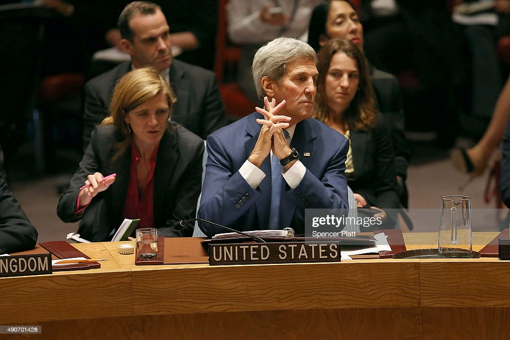 Secretary of State <a gi-track='captionPersonalityLinkClicked' href=/galleries/search?phrase=John+Kerry&family=editorial&specificpeople=154885 ng-click='$event.stopPropagation()'>John Kerry</a> attends a Security Council meeting on counter terrorism at the United Nations on September 30, 2015 in New York City. The ongoing war in Syria and the refugee crisis it has spawned are providing a backdrop to this years 70th annual General Assembly meeting of global leaders in New York.