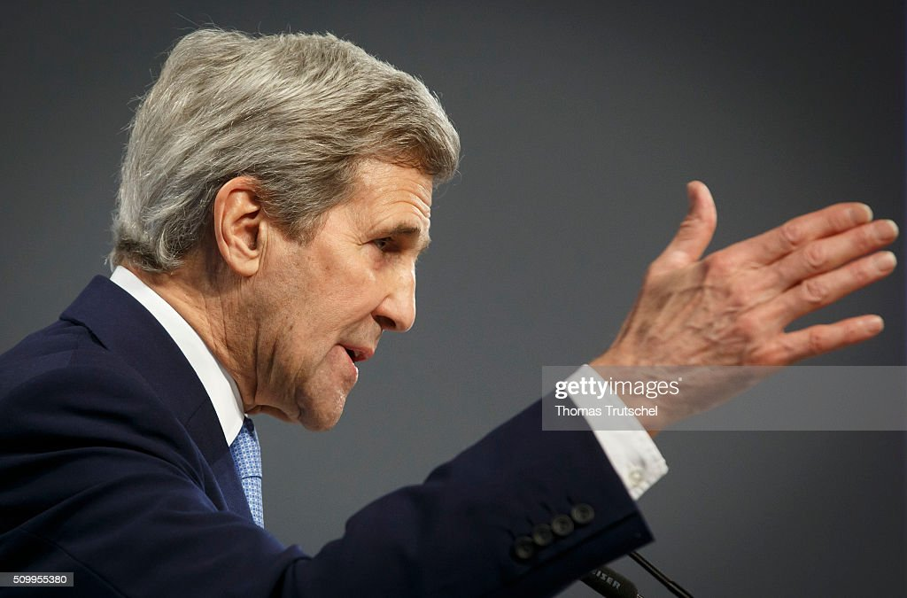 US Secretary of State <a gi-track='captionPersonalityLinkClicked' href=/galleries/search?phrase=John+Kerry&family=editorial&specificpeople=154885 ng-click='$event.stopPropagation()'>John Kerry</a> attends the 2016 Munich Security Conference at the Bayerischer Hof hotel on February 13, 2016 in Munich, Germany. The annual event brings together government representatives and security experts from across the globe and this year the conflict in Syria will be the main issue under discussion.
