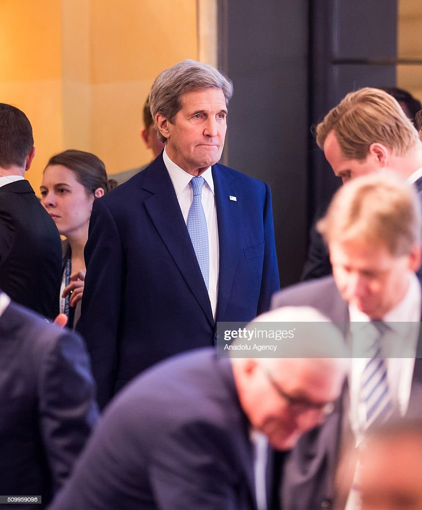 U.S. Secretary of State John Kerry (C) attends the 2016 Munich Security Conference at the Bayerischer Hof hotel on February 13, 2016 in Munich, Germany. The annual event brings together government representatives and security experts from across the globe and this year the conflict in Syria will be the main issue under discussion.