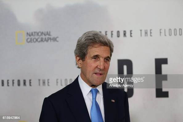 Secretary of State John Kerry attends the National Geographic Channel 'Before the Flood' screening at United Nations Headquarters in New York on...