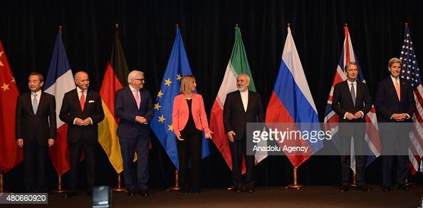 US Secretary of State John Kerry British Foreign Secretary Philip Hammond Iran's Foreign Minister Javad Zarif High Representative of the European...