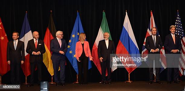 US Secretary of State John Kerry British Foreign Secretary Philip Hammond Iran's Foreign Minister Javad Zarif High Representative of the European...
