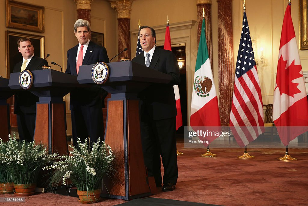 U.S. Secretary of State <a gi-track='captionPersonalityLinkClicked' href=/galleries/search?phrase=John+Kerry&family=editorial&specificpeople=154885 ng-click='$event.stopPropagation()'>John Kerry</a> (2nd L), Canadian Foreign Minister <a gi-track='captionPersonalityLinkClicked' href=/galleries/search?phrase=John+Baird+-+Canadian+Politician&family=editorial&specificpeople=10720753 ng-click='$event.stopPropagation()'>John Baird</a> (L) and Mexican Foreign Secretary Jose Antonio Meade (R) participate in a joint press availability January 17, 2014 at the State Department in Washington, DC. Secretary Kerry hosted the North American Ministerial with his counterparts to discuss 'advancing North American prosperity, North Americas leadership on energy and climate change, international engagement, and citizen security.'