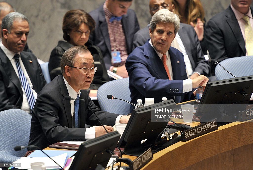 US Secretary of State John Kerry chairs the UN Security Council Meeting along with United Nations Secretary-General Ban Ki-moon(L) at the United Nations on July 25, 2013 in New York .