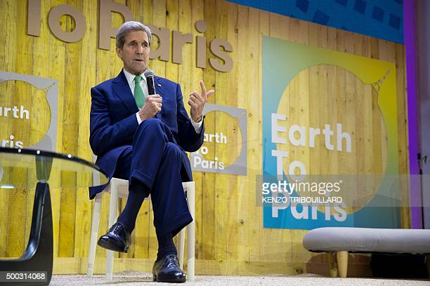 US Secretary of State John Kerry delivers a speech at the Mashable/UN Foundation 'Earth to Paris' Summit during the COP 21 United Nations conference...