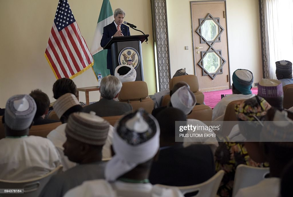 US Secretary of State John Kerry delivers a speech at the Palace of the Sultan in Sokoto on August 23 2016 Kerry congratulated Nigeria on its recent...
