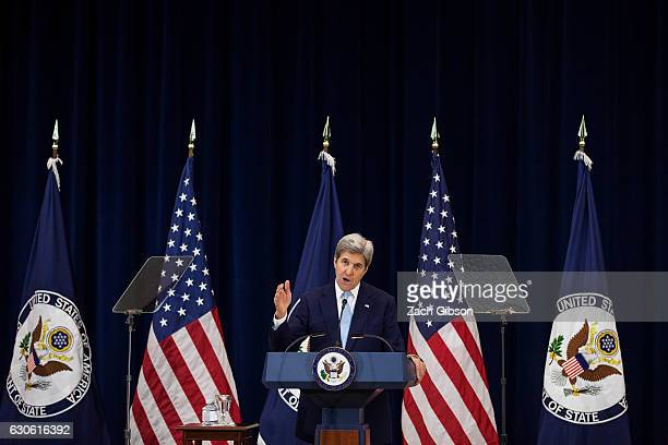 S Secretary of State John Kerry delivers a speech on Middle East peace at The US Department of State on December 28 2016 in Washington DC Kerry spoke...