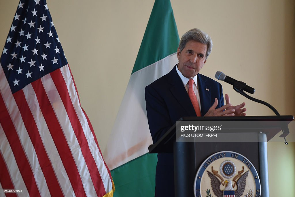 US Secretary of State John Kerry delivers a speech on 'the importance of resilient communities and religious tolerance in countering violent...