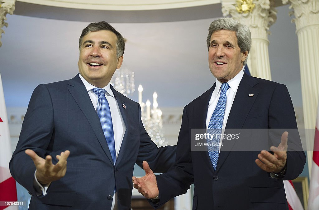 US Secretary of State John Kerry delivers a statement with Georgian President Mikheil Saakashvili at the State Department in Washington, DC, on May 1, 2013. AFP PHOTO/JIM WATSON