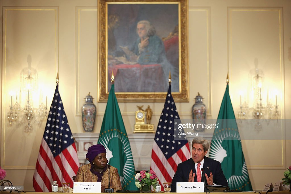 U.S. Secretary of State <a gi-track='captionPersonalityLinkClicked' href=/galleries/search?phrase=John+Kerry&family=editorial&specificpeople=154885 ng-click='$event.stopPropagation()'>John Kerry</a> (R) delivers remarks as African Union Commission Chairperson Nkosazana Dlamini Zuma (L) listens during the opening of the African Union Commission High Level Dialogue April 13, 2015 at the State Department in Washington, DC. Kerry and Dlamini Zuma signed a Memorandum of Cooperation, through which the U.S. CDC will provide technical expertise to the African Union to support establishing an African Surveillance and Response Unit and an Emergency Operations Center within the African CDC.