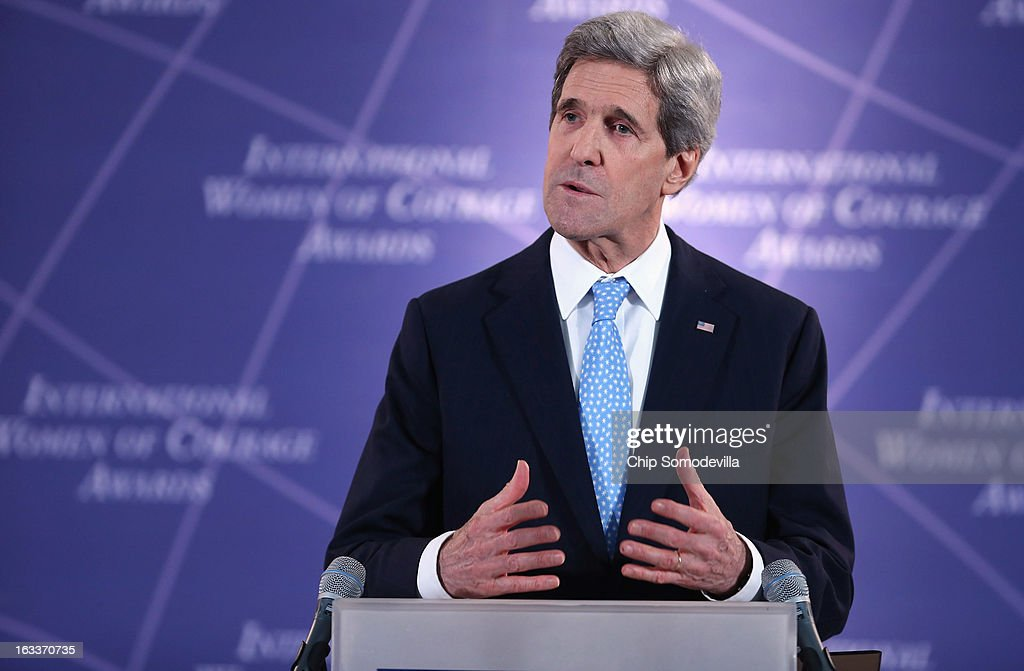 U.S. Secretary of State <a gi-track='captionPersonalityLinkClicked' href=/galleries/search?phrase=John+Kerry&family=editorial&specificpeople=154885 ng-click='$event.stopPropagation()'>John Kerry</a> delivers remarks at the International Women of Courage Awards Ceremony at the State Department March 8, 2013 in Washington, DC. In celebration of the 102nd International Women's Day, the State Department honored nine women from around the world with the International Women of Courage Award, including the 23-year-old Indian woman known only as 'Nirbhaya,' who died from injuries she received after being gang raped by six men last December in Delhi.