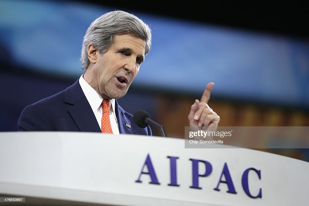 U.S. Secretary of State <a gi-track='captionPersonalityLinkClicked' href=/galleries/search?phrase=John+Kerry&family=editorial&specificpeople=154885 ng-click='$event.stopPropagation()'>John Kerry</a> delivers remarks during the American Israel Public Affairs Committee's Policy Conference at the Walter Washington Convention Center March 3, 2014 in Washington, DC. Kerry is scheduled to leave directly from the AIPAC conference to travel to Kiev to meet with members of Ukraine's new government.
