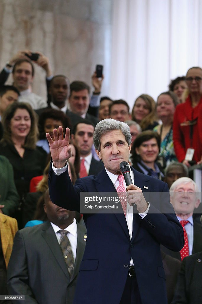 U.S. Secretary of State John Kerry delivers remarks to employees in the C Street Lobby during his first day at the State Department February 4, 2013 in Washington, DC. Kerry said he would work closely with President Barack Obama to make America safer and the world more prosperous and peaceful.