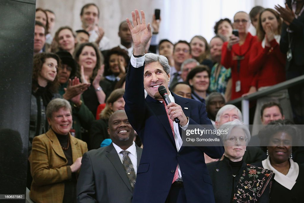 U.S. Secretary of State <a gi-track='captionPersonalityLinkClicked' href=/galleries/search?phrase=John+Kerry&family=editorial&specificpeople=154885 ng-click='$event.stopPropagation()'>John Kerry</a> delivers remarks to employees in the C Street Lobby during his first day at the State Department February 4, 2013 in Washington, DC. Kerry said he would work closely with President Barack Obama to make America safer and the world more prosperous and peaceful.
