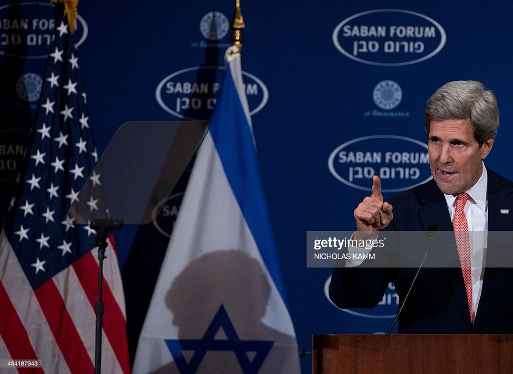 US Secretary of State John Kerry delivers the keynote address at the 10th Anniversary Saban Forum, Power Shifts: US-Israel Relations in a Dynamic Middle East, in Washington on December 7, 2013. AFP PHOTO/Nicholas KAMM