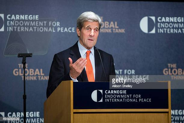 S Secretary of State John Kerry discusses US policy towards the Middle East at the Carnegie Endowment for International Peace offices October 28 2015...