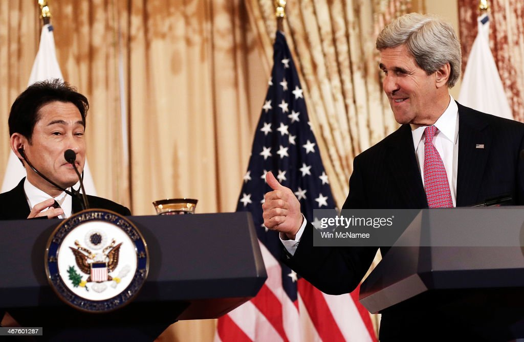 U.S. Secretary of State <a gi-track='captionPersonalityLinkClicked' href=/galleries/search?phrase=John+Kerry&family=editorial&specificpeople=154885 ng-click='$event.stopPropagation()'>John Kerry</a> (R) gestures as he delivers a joint statement with Japanese Foreign Minister <a gi-track='captionPersonalityLinkClicked' href=/galleries/search?phrase=Fumio+Kishida&family=editorial&specificpeople=10093794 ng-click='$event.stopPropagation()'>Fumio Kishida</a> (L) at the State Department February 7, 2014 in Washington, DC. The two diplomatic leaders discussed a wide range of bilateral issues during their meetings at the State Department.