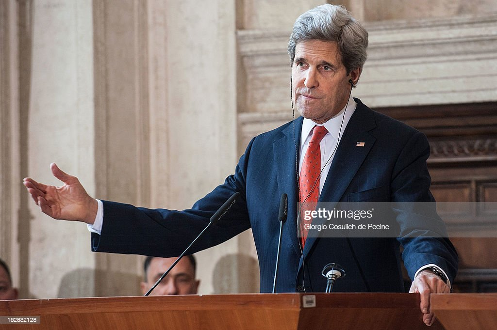 US Secretary of State <a gi-track='captionPersonalityLinkClicked' href=/galleries/search?phrase=John+Kerry&family=editorial&specificpeople=154885 ng-click='$event.stopPropagation()'>John Kerry</a> gestures as he speaks during a press conference after attending the meeting of the 'Friends of the Syrian People' at Villa Madama on February 28, 2013 in Rome, Italy. Kerry stated that the opposition needs 'more help' in the fight against President Bashar Hafez al-Assad. The new US Secretary of State is on his first trip and is visiting nine nations in Europe and the Middle East.