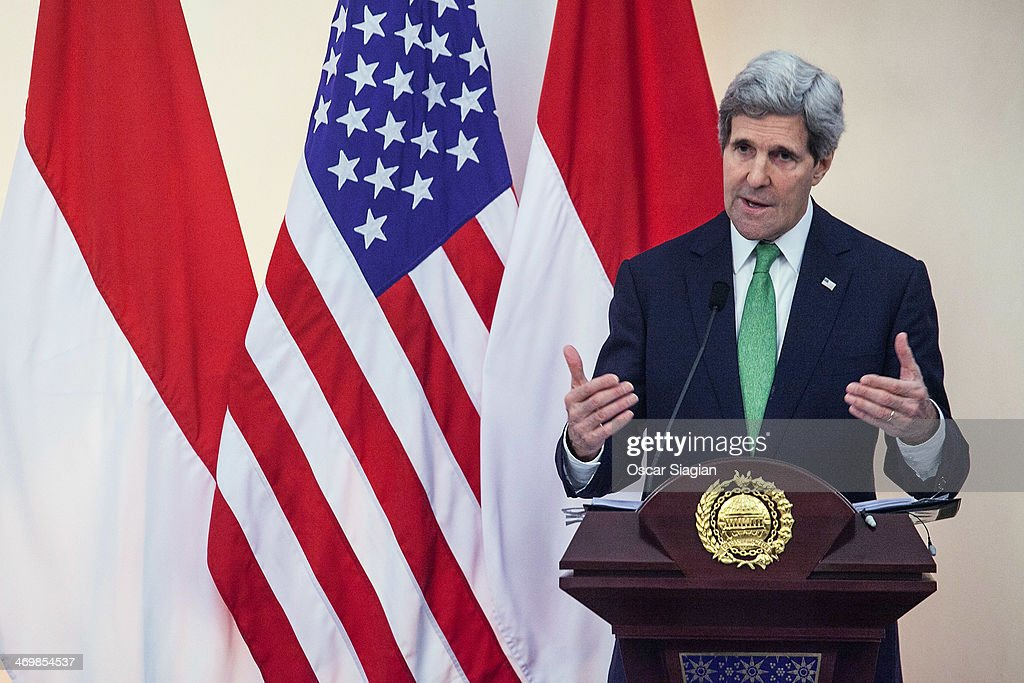 U.S. Secretary of State <a gi-track='captionPersonalityLinkClicked' href=/galleries/search?phrase=John+Kerry&family=editorial&specificpeople=154885 ng-click='$event.stopPropagation()'>John Kerry</a> gestures during a joint press conference with Indonesian Foreign Minister Marty Natalegawa on February 17, 2014 in Jakarta, Indonesia. Kerry arrived in Indonesia on a visit to highlight concerns over climate change, after agreeing with China to boost joint efforts to fight global warming