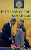 US Secretary of State John Kerry greets Australian Foreign Minister Julie Bishop ahead of the Friends of Lower Mekong ministerial meeting part of the...