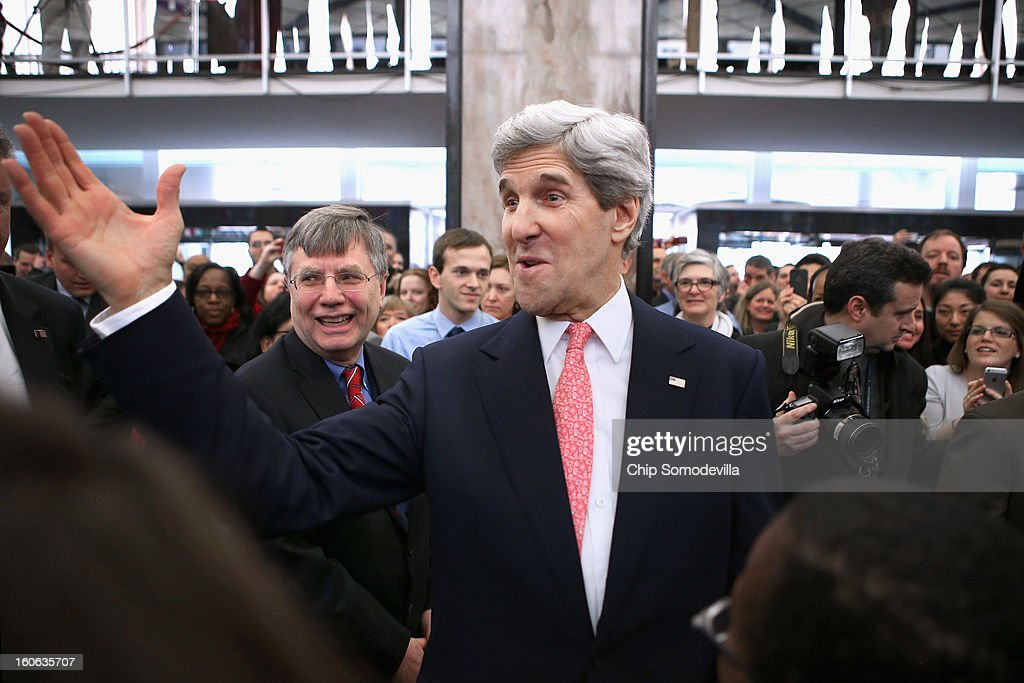 U.S. Secretary of State <a gi-track='captionPersonalityLinkClicked' href=/galleries/search?phrase=John+Kerry&family=editorial&specificpeople=154885 ng-click='$event.stopPropagation()'>John Kerry</a> greets employees in the C Street Lobby during his first day at the State Department February 4, 2013 in Washington, DC. Kerry said he would work closely with President Barack Obama to make America safer and the world more prosperous and peaceful.