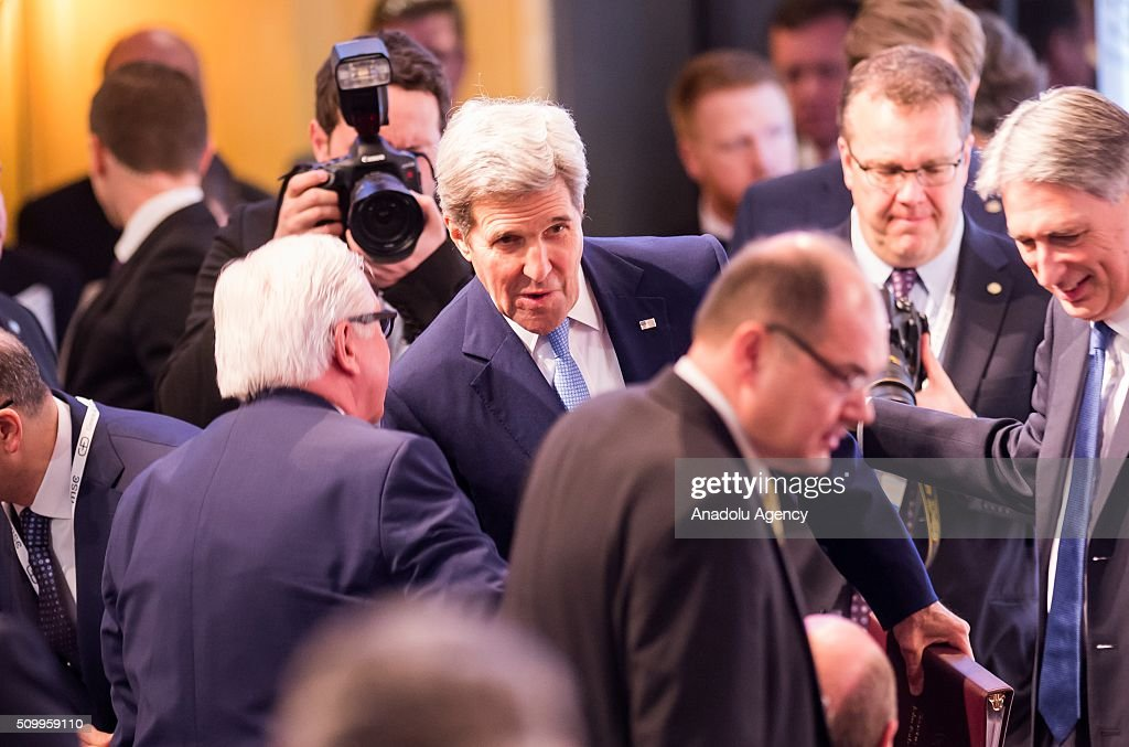 U.S. Secretary of State John Kerry (C) greets German Foreign Minister Frank-Walter Steinmeier (L) during the 2016 Munich Security Conference at the Bayerischer Hof hotel on February 13, 2016 in Munich, Germany. The annual event brings together government representatives and security experts from across the globe and this year the conflict in Syria will be the main issue under discussion.