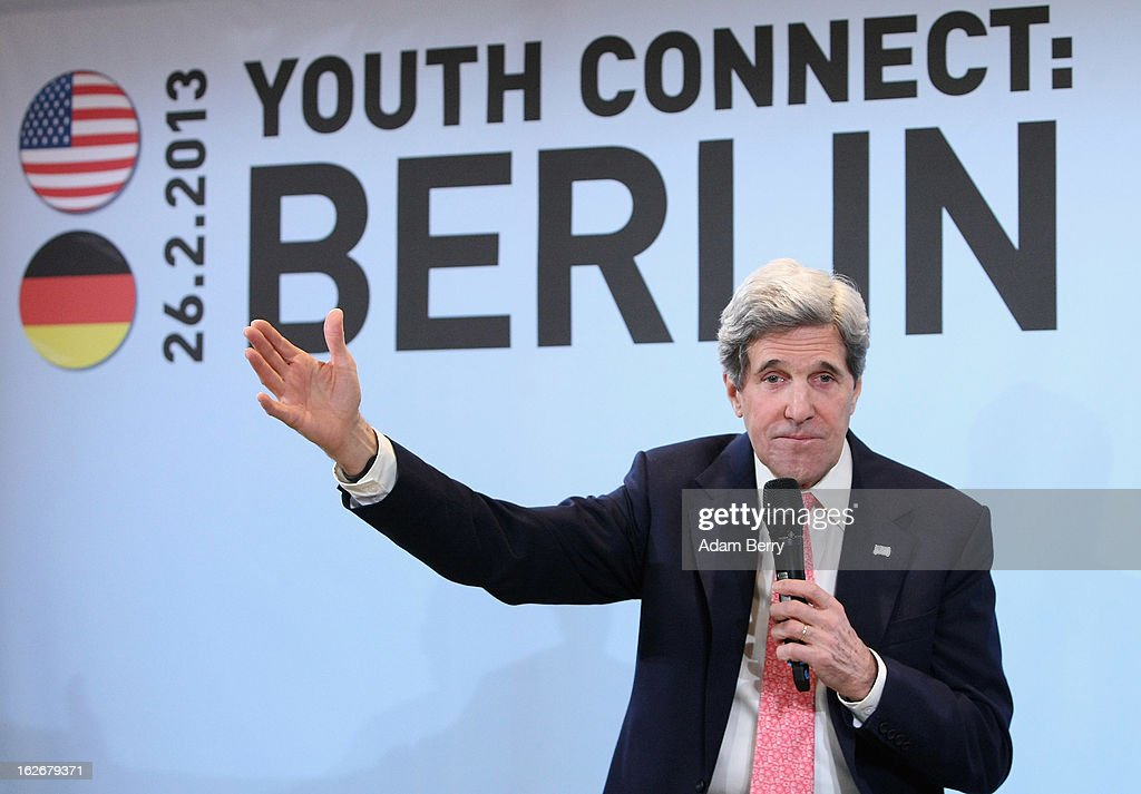 U.S. Secretary of State <a gi-track='captionPersonalityLinkClicked' href=/galleries/search?phrase=John+Kerry&family=editorial&specificpeople=154885 ng-click='$event.stopPropagation()'>John Kerry</a> holds a conversation with a group of invited young people as part of his Youth Connect series of discussions on February 26, 2013 in Berlin, Germany. Kerry is in Germany on his first visit abroad as secretary of state, on an 11-day trip that will also take in Paris, Rome, Ankara, Cairo, Riyadh, Abu Dhabi and Doha, before he returns to the United States on March 6. Kerry spent yesterday in London, holding talks with Prime Minister David Cameron and Foreign Secretary William Hague.