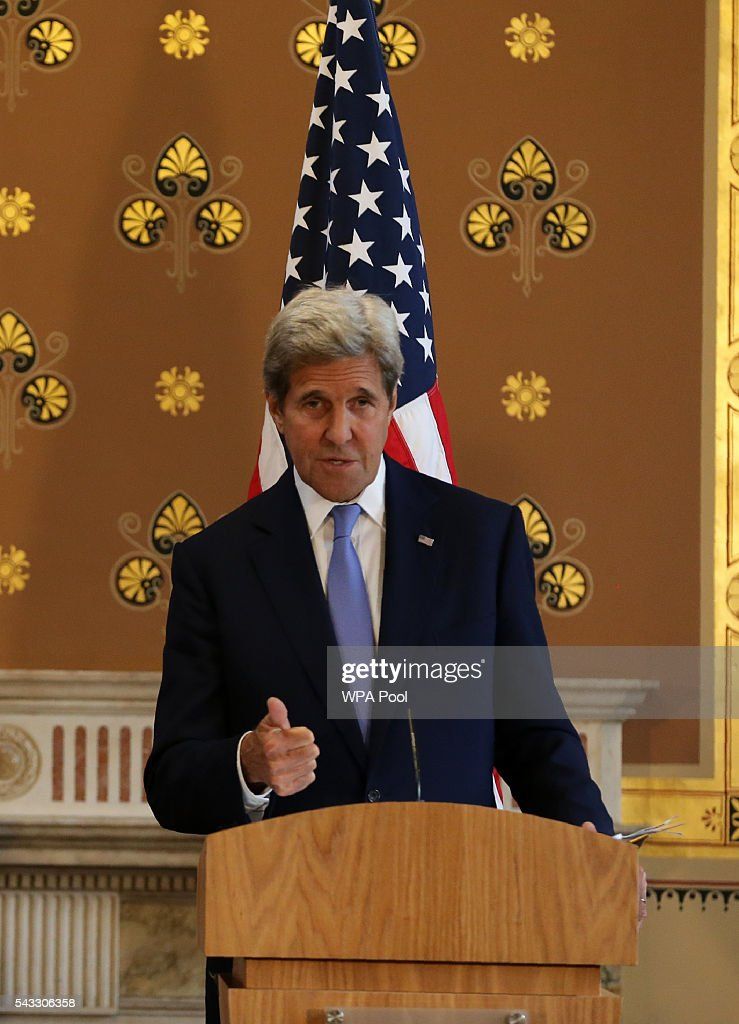 US Secretary of State <a gi-track='captionPersonalityLinkClicked' href=/galleries/search?phrase=John+Kerry&family=editorial&specificpeople=154885 ng-click='$event.stopPropagation()'>John Kerry</a> holds a joint press conference with British Foreign Secretary Philip Hammond (not pictured) after their meeting at the Foreign and Commonwealth Office (FCO) on June 27, 2016 in London, England. US Secretary of State <a gi-track='captionPersonalityLinkClicked' href=/galleries/search?phrase=John+Kerry&family=editorial&specificpeople=154885 ng-click='$event.stopPropagation()'>John Kerry</a> urged EU members not to lose their heads over the referendum.