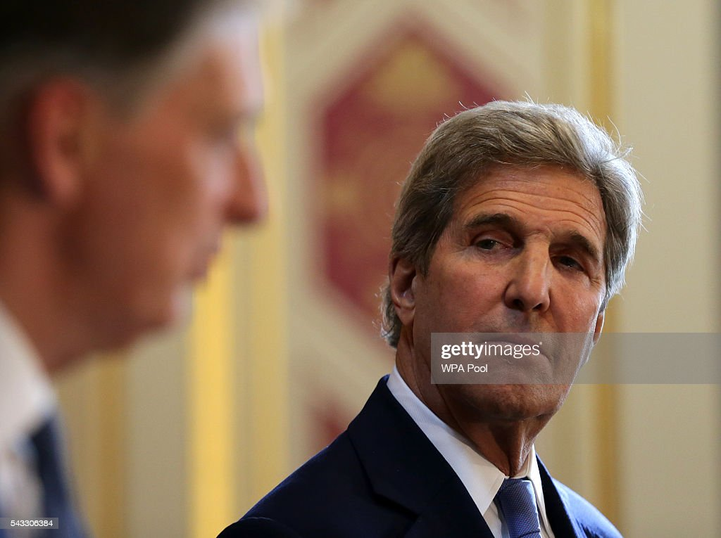 US Secretary of State <a gi-track='captionPersonalityLinkClicked' href=/galleries/search?phrase=John+Kerry&family=editorial&specificpeople=154885 ng-click='$event.stopPropagation()'>John Kerry</a> (R) holds a joint press conference with British Foreign Secretary Philip Hammond (L) after their meeting at the Foreign and Commonwealth Office (FCO) on June 27, 2016 in London, England. US Secretary of State <a gi-track='captionPersonalityLinkClicked' href=/galleries/search?phrase=John+Kerry&family=editorial&specificpeople=154885 ng-click='$event.stopPropagation()'>John Kerry</a> urged EU members not to lose their heads over the referendum.