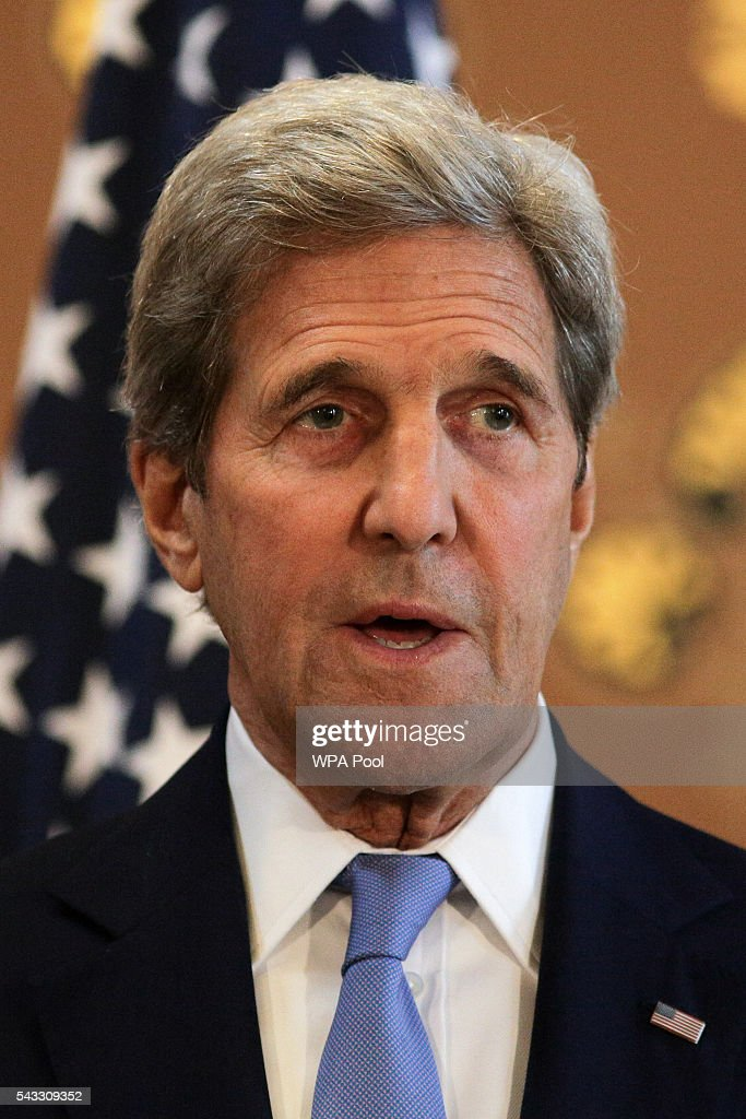 US Secretary of State <a gi-track='captionPersonalityLinkClicked' href=/galleries/search?phrase=John+Kerry&family=editorial&specificpeople=154885 ng-click='$event.stopPropagation()'>John Kerry</a> (R) holds a joint press conference with British Foreign Secretary Philip Hammond (not pictured) after their meeting at the Foreign and Commonwealth Office (FCO) on June 27, 2016 in London, England. US Secretary of State <a gi-track='captionPersonalityLinkClicked' href=/galleries/search?phrase=John+Kerry&family=editorial&specificpeople=154885 ng-click='$event.stopPropagation()'>John Kerry</a> urged EU members not to lose their heads over the referendum.