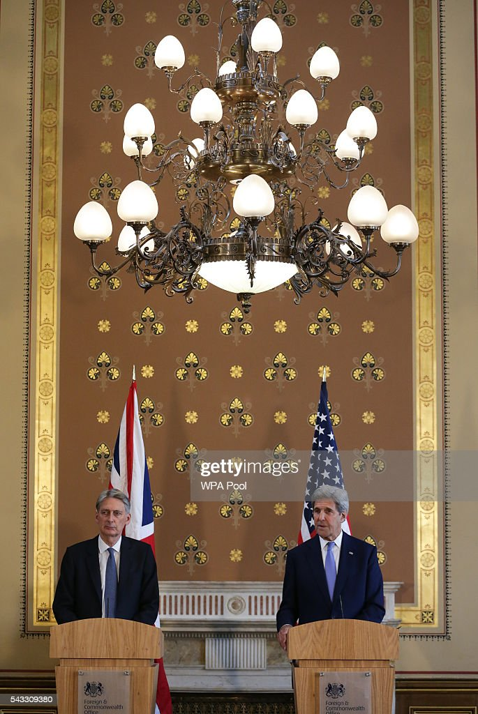 US Secretary of State <a gi-track='captionPersonalityLinkClicked' href=/galleries/search?phrase=John+Kerry&family=editorial&specificpeople=154885 ng-click='$event.stopPropagation()'>John Kerry</a> (R) holds a joint press conference with British Foreign Secretary <a gi-track='captionPersonalityLinkClicked' href=/galleries/search?phrase=Philip+Hammond&family=editorial&specificpeople=2486715 ng-click='$event.stopPropagation()'>Philip Hammond</a> after their meeting at the Foreign and Commonwealth Office (FCO) on June 27, 2016 in London, England. US Secretary of State <a gi-track='captionPersonalityLinkClicked' href=/galleries/search?phrase=John+Kerry&family=editorial&specificpeople=154885 ng-click='$event.stopPropagation()'>John Kerry</a> urged EU members not to lose their heads over the referendum.