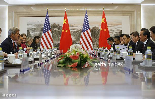 S Secretary of State John Kerry holds a meeting with Chinese Foreign Minister Wang Yi on May 16 2015 in Beijing China Kerry was to meet Chinese...