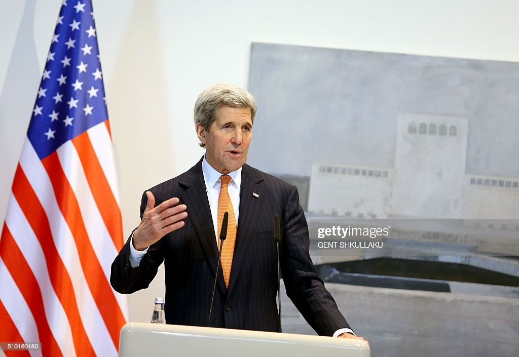 US Secretary of State John Kerry holds a press conference in Tirana on February 14, 2016. US Secretary of State is in a few hours visit to Tirana, to meet with senior government leaders to discuss Albania's further Euro-Atlantic integration and strong bilateral cooperation with the United States. SHKULLAKU
