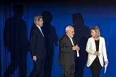 US Secretary of State John Kerry Iranian Foreign Minister Mohammad Javad Zarif and EU's foreign policy chief Federica Mogherini arrive to announce an...