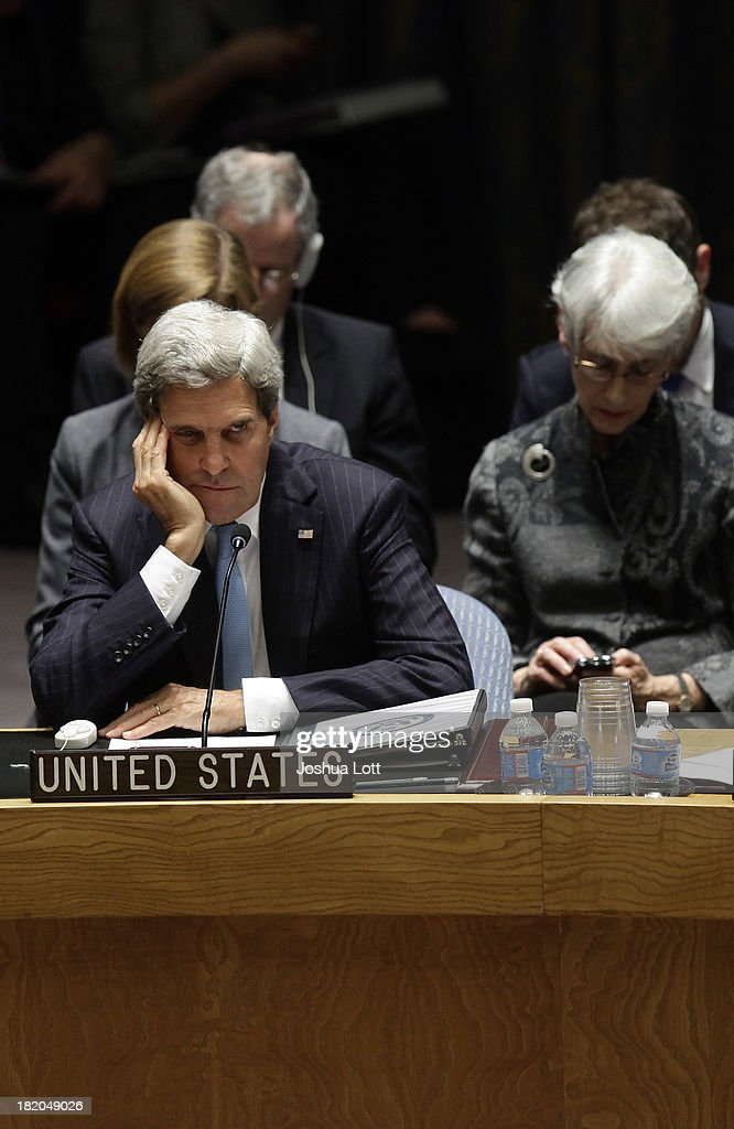 U.S. Secretary of State <a gi-track='captionPersonalityLinkClicked' href=/galleries/search?phrase=John+Kerry&family=editorial&specificpeople=154885 ng-click='$event.stopPropagation()'>John Kerry</a> is shown after a United Nations Security Council vote September 27, 2013 at U.N. headquarters in New York City. The Security Council today voted unanimously on a resolution that compels Syria to give up its chemical-weapon stockpile or face consequences. To that end, it requires unfettered access to international chemical-weapons experts, according to published reports.