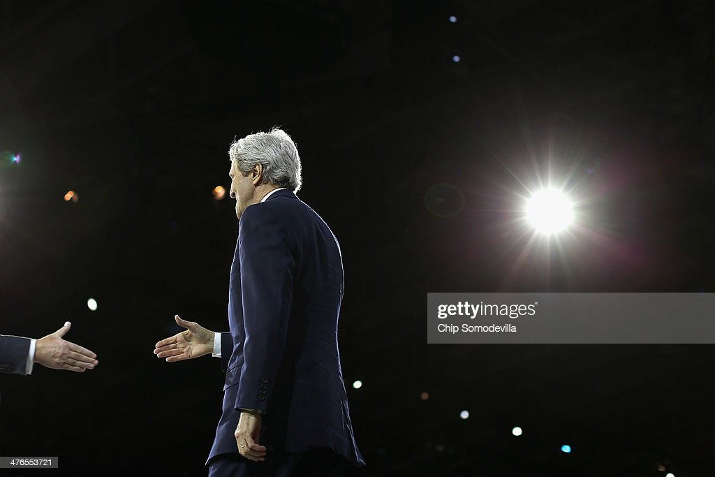 U.S. Secretary of State John Kerry is welcomed to the stage before delivering remarks to the American Israel Public Affairs Committee's Policy Conference at the Walter Washington Convention Center March 3, 2014 in Washington, DC. Kerry is scheduled to leave directly from the AIPAC conference to travel to Kiev to meet with members of Ukraine's new government.