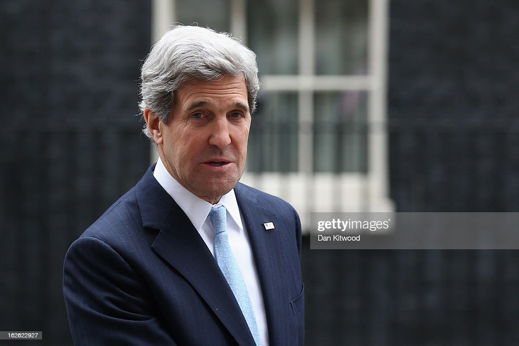 US Secretary of State John Kerry leaves 10 Downing Street on February 25, 2013 in London, England. Mr Kerry is on an 11-day tour, and is due to visit Berlin, Paris, Rome, Ankara, Cairo, Riyadh, Abu Dhabi and Doha. The US Secretary of State is to hold a press conference with Foreign Secretary William Hague in London later today.