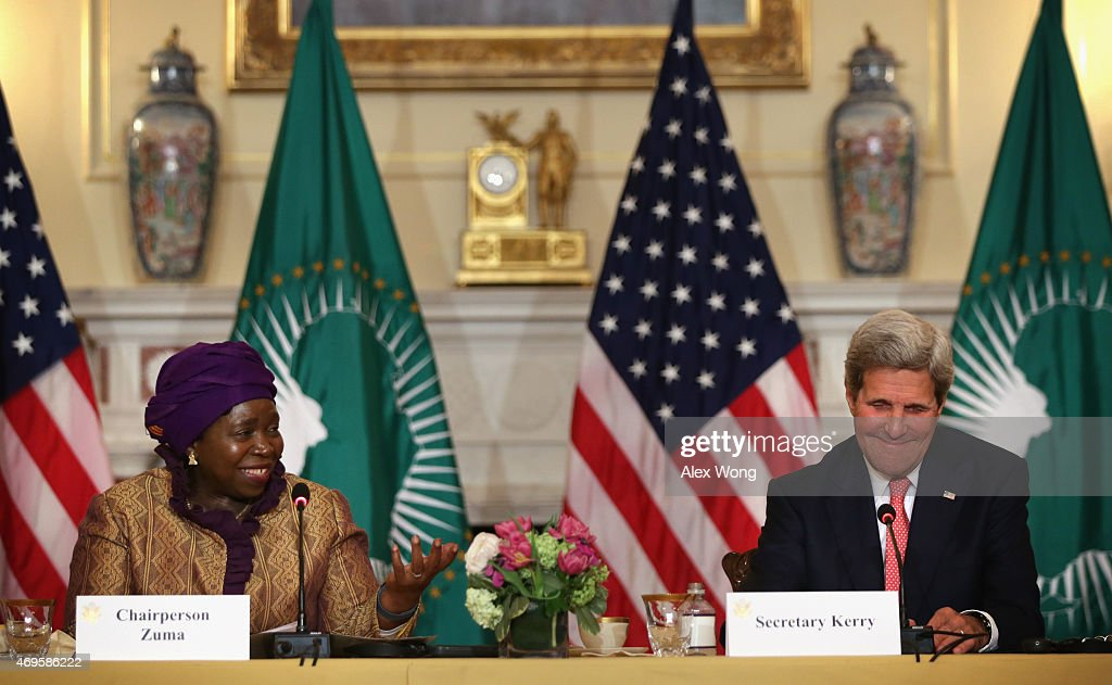 U.S. Secretary of State <a gi-track='captionPersonalityLinkClicked' href=/galleries/search?phrase=John+Kerry&family=editorial&specificpeople=154885 ng-click='$event.stopPropagation()'>John Kerry</a> (R) listens as African Union Commission Chairperson Nkosazana Dlamini Zuma (L) delivers remarks during the opening of the African Union Commission High Level Dialogue April 13, 2015 at the State Department in Washington, DC. Kerry and Dlamini Zuma signed a Memorandum of Cooperation, through which the U.S. CDC will provide technical expertise to the African Union to support establishing an African Surveillance and Response Unit and an Emergency Operations Center within the African CDC.