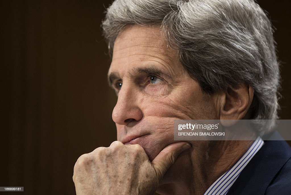 US Secretary of State John Kerry listens during a hearing of the Senate Foreign Relations Committee on Capitol Hill on April 18, 2013 in Washington, DC. Kerry appeared before the committee to testify about the administration's FY2014 international affairs budget. AFP PHOTO/Brendan SMIALOWSKI