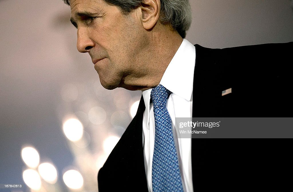 U.S. Secretary of State <a gi-track='captionPersonalityLinkClicked' href=/galleries/search?phrase=John+Kerry&family=editorial&specificpeople=154885 ng-click='$event.stopPropagation()'>John Kerry</a> listens to the President of Georgia Mikheil Saakashvili speak to journalists following a bilateral meeting at the U.S. State Department May 1, 2013 in Washington, DC. Kerry is scheduled to travel to Russia next week to discuss recent developments in the region.