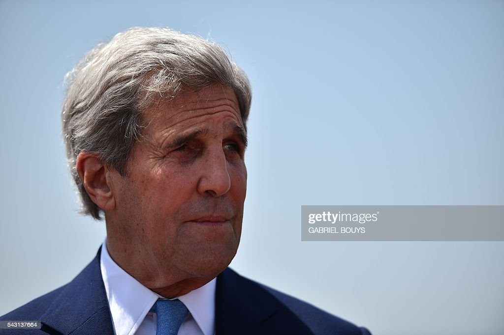 US Secretary of State John Kerry looks on during a meeting with Italian Foreign minister in Rome on June 26, 2016. After his visit to Rome, US Secretary of State John Kerry will fly to Brussels and London on June 27, 2016 for crisis talks with top EU and British officials in the aftermath of Britain's vote to leave the European Union. / AFP / GABRIEL