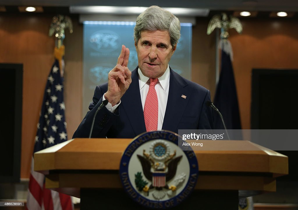 U.S. Secretary of State <a gi-track='captionPersonalityLinkClicked' href=/galleries/search?phrase=John+Kerry&family=editorial&specificpeople=154885 ng-click='$event.stopPropagation()'>John Kerry</a> makes a statement on Ukraine at the briefing room of the State Department April 24, 2014 in Washington, DC. Kerry spoke on the current situation in Ukraine and said that the window for Russia to change course is closing.
