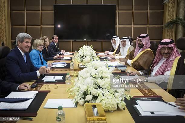 US Secretary of State John Kerry meets with Crown Prince Mohammed bin Nayef of Saudi Arabia in Diriyah Farm Saudi Arabia on October 24 2015 US...