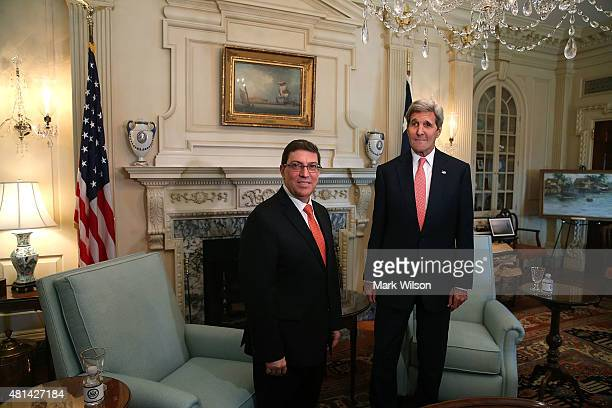 S Secretary of State John Kerry meets with Cuba Foreign Minister Bruno Rodriguez at the State Department July 20 2015 in Washington DC Today the...