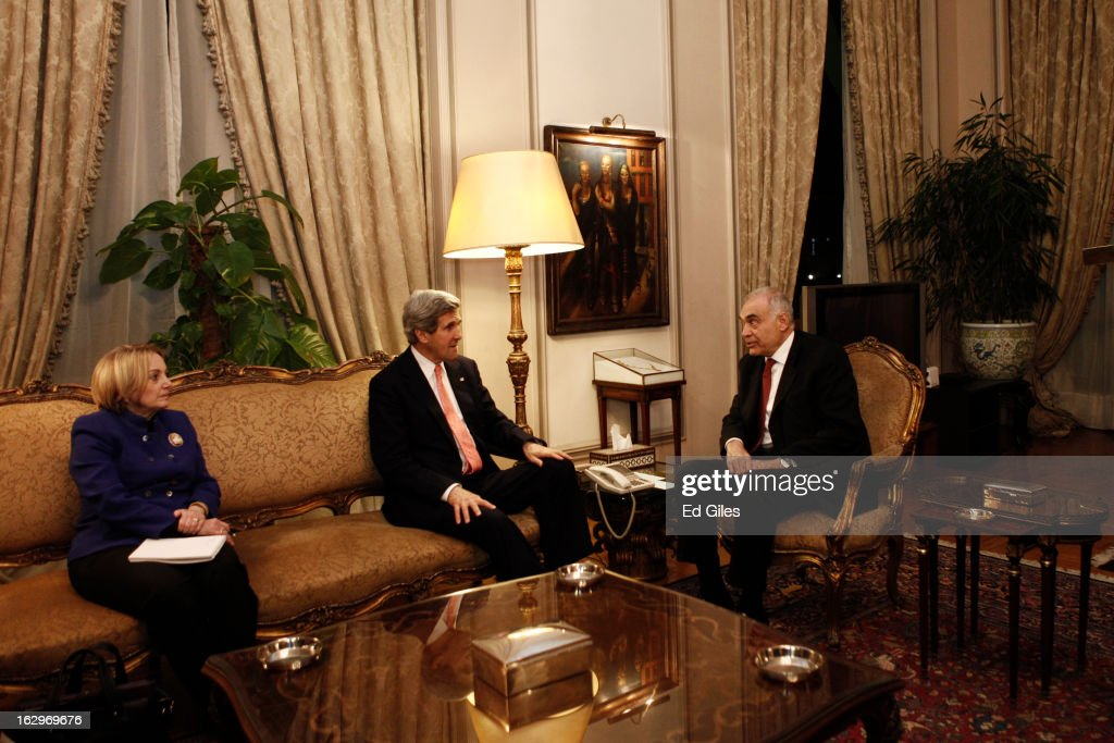 US Secretary of State <a gi-track='captionPersonalityLinkClicked' href=/galleries/search?phrase=John+Kerry&family=editorial&specificpeople=154885 ng-click='$event.stopPropagation()'>John Kerry</a> (C) meets with Egyptian Foreign Minister Mohamed K. Amr (R), and US Ambassador to Egypt Anne W. Patterson during a meeting at the Egyptian Foreign Ministry on March 2, 2013 in Cairo, Egypt. Secretary of State Kerry is visiting Egypt for two days during an eleven country tour of Europe and the Middle East, marking the first overseas trip by Kerry since assuming the role of Secretary of State.